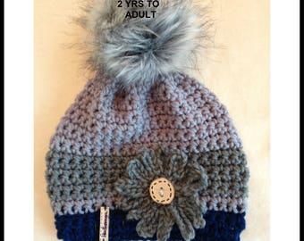 Crochet Hat PATTERN, Men, women, children, boys, girls, adults.  Flower pattern included, #2113, Hectanooga Patterns