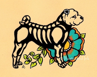 Day of the Dead Dog SHAR PEI Dia de los Muertos Art Print 5 x 7, 8 x 10 or 11 x 14 - Choose your own words - Donation to Austin Pets Alive