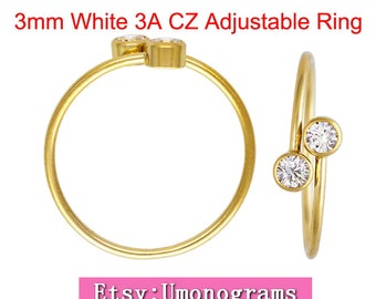 14K Yellow Gold Filled 3mm White 3A CZ Adjustable Ring US Size 6/8/10 Wholesale Jewelry Findings 1/20 14kt GF