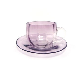 Amethyst cup and saucer - vintage purple glass teacup