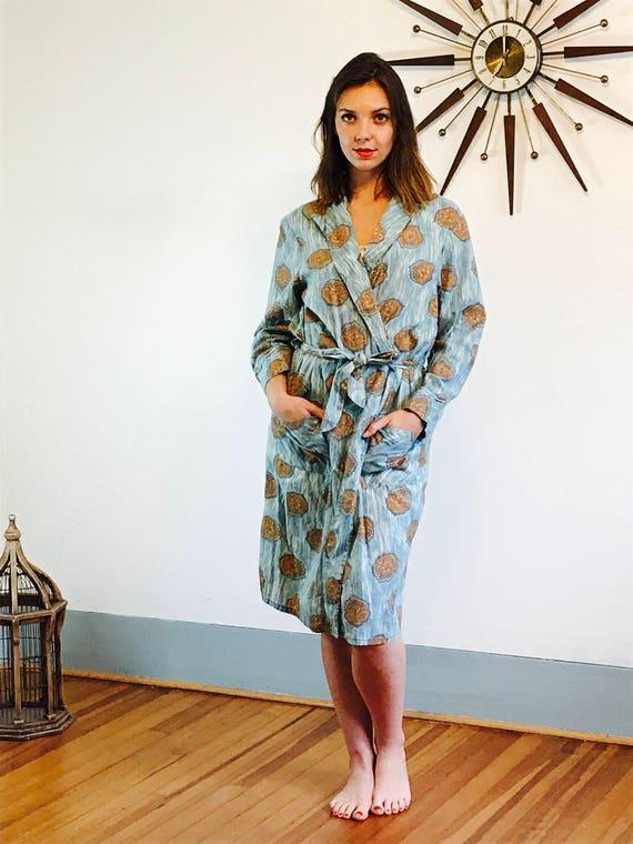 Vintage 50s Robe, Fruit of the Loom, Blue cotton robe, MAD MEN Loungewear, novelty print robe, retro 60s robe, Mens long robe, 1950s robe
