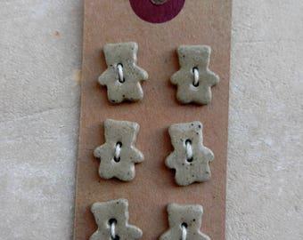 Set of buttons mini-ourson stoneware ceramic.