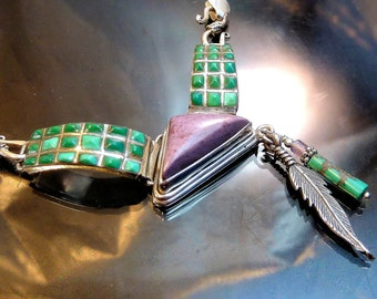 Old Navajo Zuni Turquoise Sugilite in Sterling Silver Necklace with feather Native American Indian Southwestern Jewelry OOAK jewelry