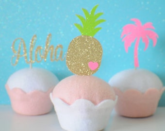 Luau Cupcake toppers, Hawaiian cupcake toppers, Pineapple cupcake toppers, Luau party, Hawaii Party, Tropical cupcake toppers, Aloha