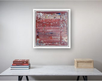Colourful Abstract Painting, Square art, Original Artwork, Red, Home Decor, Wall Art, Ready to hang, 50x50 cm