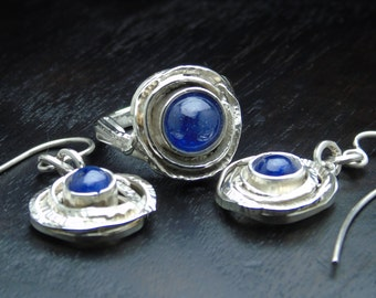 Ring and Earrings, Natural Blue Sapphires, Round Shapes Random Shapes, Asymmetric Ring, Pendants Earrings, Hammered Metal