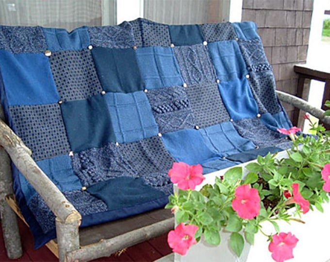 """My """"Happy Blues"""" Wool Sweater Quilt — I can make one similar for you!"""