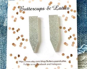 Silver Shimmer Bar Drop Earrings