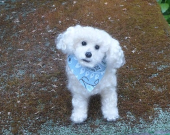 Personalized Dog Memorial Portrait Sculpture Felted Miniature of your pet / from  your photos / poseable / example Bichon Frise