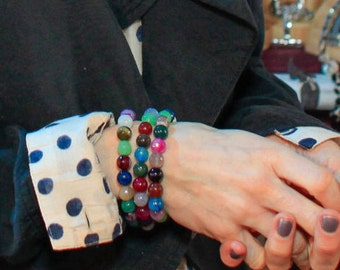 As Seen On Sally Hawkins Candy Agate Bracelet Faceted Colorful Rainbow Gemstones Stacking Stretch Bracelet Couture Hollywood Style Mei Faith