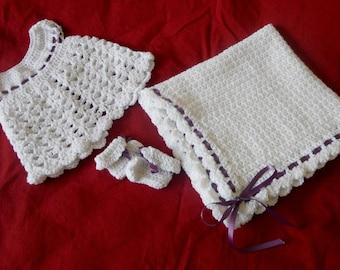 Baby girl layette - dress, booties, baby blanket