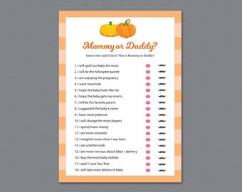 Mommy or Daddy, Who Said It, He Said She Said, Fall Pumpkins, Squash Baby Shower Games, Baby Shower Quiz, Guessing game, Mom Dad, B015