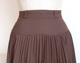 Brown crepe pleated midi full skirt with low waist - boho fall winter size M - French 80s vintage