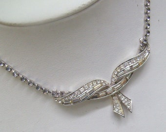 Vintage BOUCHER Signed Clear Crystal Necklace...#5539...Marcel BOUCHER Choker Necklace....Circa 1950s