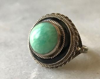 vintage amazonite ring with black enamel halo and filigree silver design // size 5