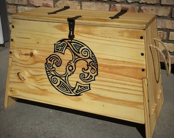 Viking Sea Chest, with Huninn and Muginn, Odin's Ravens, Pine Chest, Forged Steel Hardware