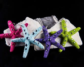 Starfish Necklace with Crystals