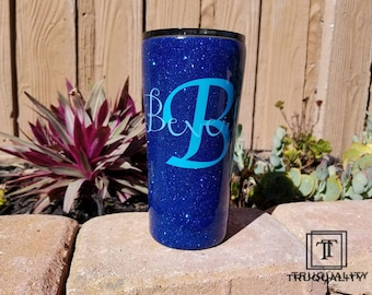 PERSONALIZED - Your choice color / brand / size glittered stainless steel tumbler, ozark or yeti