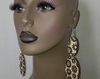 Beautiful Floral Embellished Wooden Earrings, Long Earrings, Dangling Earrings, Large Earrings, Womens Earrings, Jewelry, Handmade Earrings