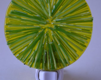 Yellow and Green Radiating Circle Fused Glass Night Light