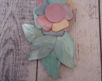 Layered Shell Flower Focal Component/Pendant, Large, Drilled Across Top