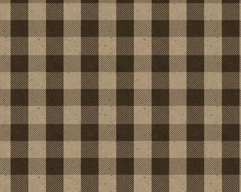 Riley Blake Penny Rose Menswear Plaid Check Brown Beige CC4791 Cotton Quilting Fabric by the Half Yard - DLP