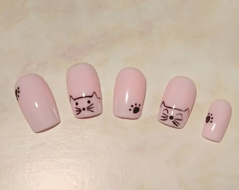 Here Kitty, Kitty | Pink Cat | Cute nails | Square | Press on Nails | Glue on Nails | Artificial Nails | Fake Nails