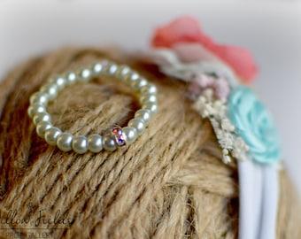 RTS Newborn Pearl Bracelet w/Rhinestones Photo Prop or Keepsake