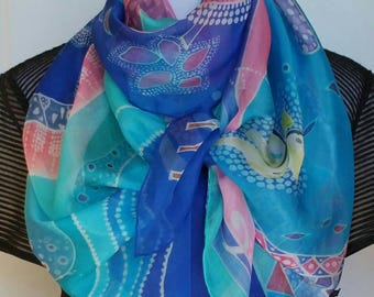 "The harmony  of love, pastel scarf, 20"" X 72"", Fashion Scarf, Printed Silk Scarf for music lovers, for valentine, shawl, mosaic"