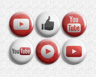 Youtube Social Media Icon 6 Pack - Pinback Badge / Magnets / Sticky