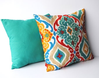 Two outdoor  pillow covers, one ikat and one solid teal,  pillow covers, 18x18, throw pillow, decorative pillow, home decor