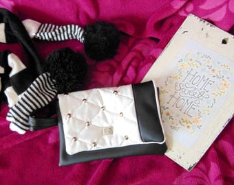 Woman wristlet black & white decorative rivets small bag, present for her