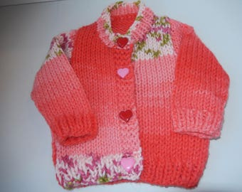 hand knitted baby girl cardigan / hand knit sweater / pink & red sweater /  newborn cardigan