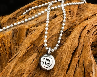 Reversible Handmade 925 Sterling Silver Dogstone Seal Pendant / Charm on a Ball Chain Necklace