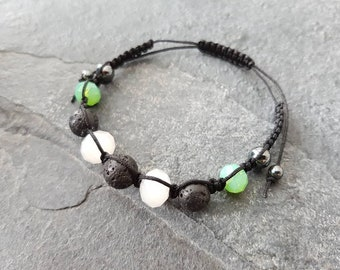 White And Green Glass Aromatherapy Bracelet, Essential Oil Diffuser Bracelet, Macrame Style Bracelet, Hematite Bracelet, Lava Rock Bracelet