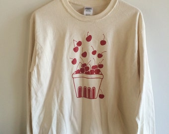 Cherry Shirt, Fruit Shirt, Food Shirt, Screen Printed T Shirt, Long Sleeves, Fruit Print