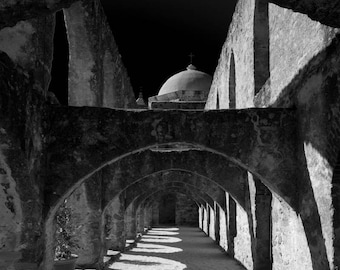 Arches and Dome, Mission San Jose, Black and White Fine Art Photography, Religious Wall Art, Wall Art, Mission Style Art