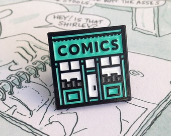 Comic Shop enamel pin