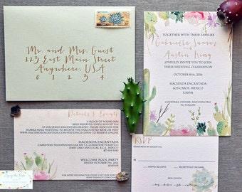 Wedding Invitation Suite - Watercolor Invitations - Los Cabos Wedding - Mexico Wedding - Desert Invitations - Succulent Invitations