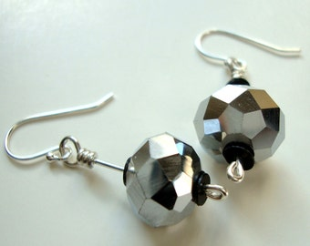 Disco Ball Silver faceted mirror glass earrings