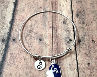 Pharmacist initial bangle - pharmacist jewelry, Rx bangle, pharmacy school graduation gift, gift for pharmacist, prescription bottle jewelry