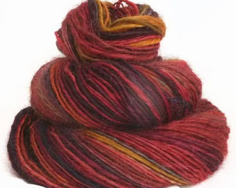 Handspun handdyed yarn Wensleydale wool single yarn