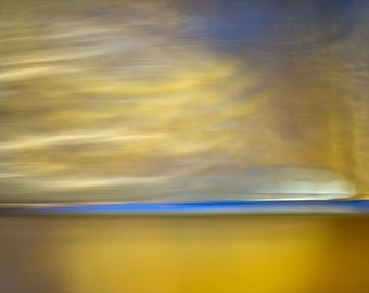 Yellow and Blue, Vibrant photo, surreal landscape, abstract photo, coastal wall art, abstract decor, horizon photo, sunset photo, white