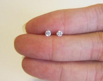 Cubic Zirconia Stud Earrings, Cartilage Earring, tiny stud earrings, tiny diamond earrings, crystal earrings, birthstone earrings