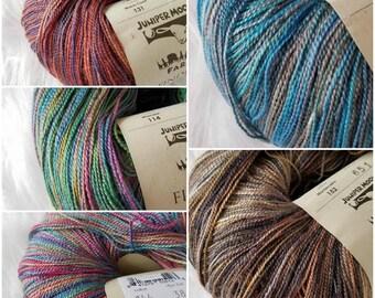 Juniper Moon Findley Dappled, merino wool and mulberry silk blend, lace weight
