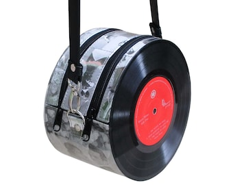 retro vinyl record Crossbody bag - Gift for music student gifts nostalgic vintage gifts for women - recycled bag - ethical gifts for her