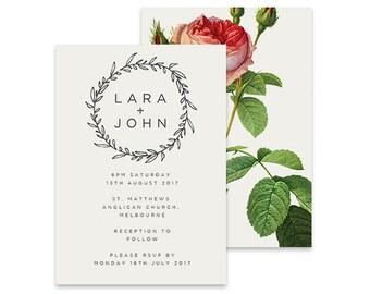 Simple Wedding Invitation | Vintage Rose | Printable DIY Invite, Affordable Wedding Invitation | Elegant, feminine simple white invitation