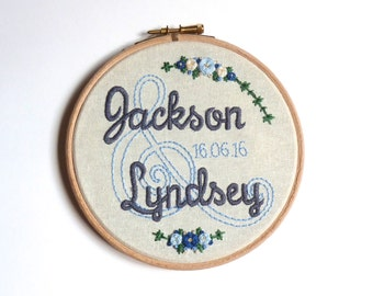 Personalised wedding embroidery hoop, Custom name and date embroidery, Wedding Anniversary gift for couples, Wedding keepsake centre piece