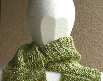 Silk Mohair Scarf  green beige hand dyed hand knit luxury. Several shades of green show off in this scarf.