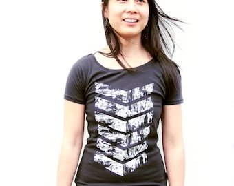 Womens Arrow T Shirt - Womens Black Scoop Neck Tee - Bamboo - Earth Friendly Organic Cotton - Arrows tee - Small, Med, Large, XL